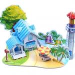 Romantic Sea Beach Castle House Puzzle โมเดล3มิติ ตัวต่อกระดาษโฟม จิ๊กซอร์ 3มิติ