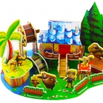 Green Cartoon House บ้านสวนการ์ตูนสีเขียว jigsaw 3D puzzle for Education and Fun