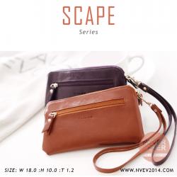 กระเป๋าสตางค์ผู้หญิง ทรงถุง สีน้ำตาล รุ่น SCAPE