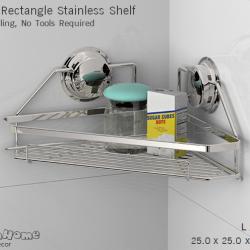 CH-22 ชั้นวางเข้ามุมสแตนเลส ไม่ต้องเจาะผนัง - Rectangle Stainless Shelf