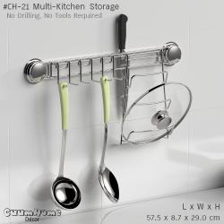 CH-21 ที่วางมีด ตะขอ และที่วางฝา ไม่ต้องเจาะผนัง -Multi Function Kitchen Storage