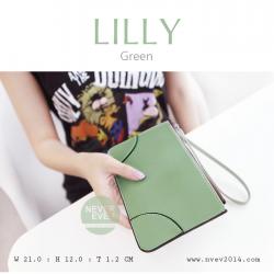 กระเป๋าสตางค์ผู้หญิง ทรงถุง กระเป๋าคลัทช์ สีเขียวรุ่น LILLY