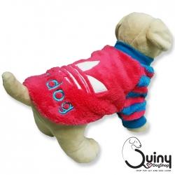 เสื้อสุนัข ลายแถบ adidog สีชมพูฟ้า