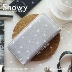กระเป๋าสตางค์ผู้หญิง ใบยาว ซิปรอบ รุ่น SNOWY สีเทาจุดขาว