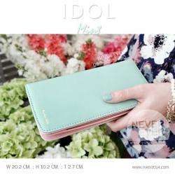 กระเป๋าสตางค์ผู้หญิง รุ่น IDOL ทูโทน สีเขียวมิ้น - ชมพูซากุระ