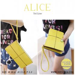 กระเป๋าสตางค์ผู้หญิง ทรงถุง กระเป๋าคลัทช์ สีเหลือง รุ่น ALICE