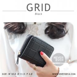 กระเป๋าสตางค์ผู้หญิง GRID สีดำ