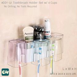 DIY-12 เซตแปรงสีฟัน พร้อมแก้วน้ำ 4 ใบ ไม่ต้องเจาะผนัง