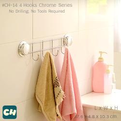 CH-14 ตะขอ 4 ตำแหน่ง รุ่น Chrome Series ไม่ต้องเจาะผนัง