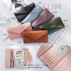 กระเป๋าสตางค์ผู้หญิง ใบยาว แบบบาง เรียบ รุ่น LETTER SLIM