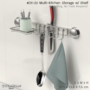 CH-20 ที่วางมีด ตะขอ และชั้นวาง ไม่ต้องเจาะผนัง -Multi Function Kitchen Storage w/ Shelf