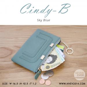 กระเป๋าสตางค์ผู้หญิง ทรงถุง สีฟ้า รุ่น CINDY-B