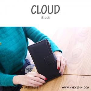 กระเป๋าสตางค์ผู้หญิง รุ่น CLOUD สีดำ ใบยาว