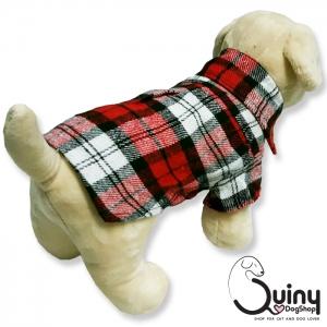 เสื้อสุนัข ลายสก็อตสีแดง