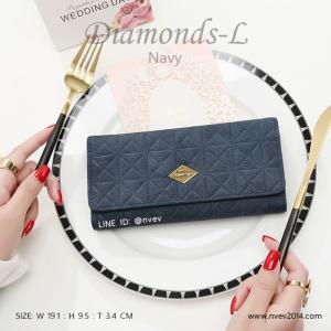 กระเป๋าสตางค์ผู้หญิง ใบยาว รุ่น DIAMONDS-L สีน้ำเงิน