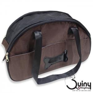 กระเป๋าใส่สุนัข ลายกระดูก สีน้ำตาล
