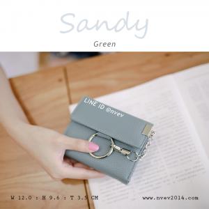 กระเป๋าสตางค์ผู้หญิง ใบสั้น รุ่น SANDY สีเขียว อมฟ้า