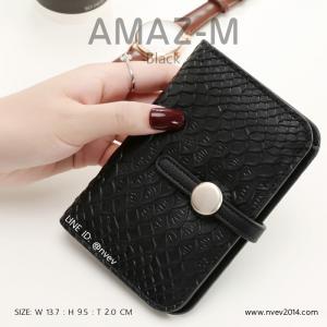 กระเป๋าสตางค์ผู้หญิง ขนาดกลาง รุ่น AMAZ -M สีดำ
