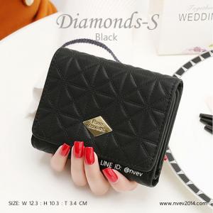 กระเป๋าสตางค์ผู้หญิง ใบสั้น รุ่น DIAMONDS-S สีดำ