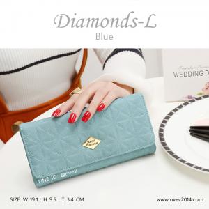 กระเป๋าสตางค์ผู้หญิง ใบยาว รุ่น DIAMONDS-L สีฟ้า