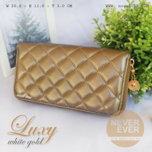 กระเป๋าสตางค์ผู้หญิง รุ่น LUXY สีเงิน ซิปรอบ Silver
