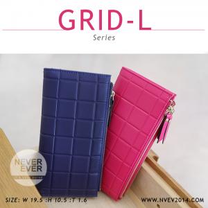 กระเป๋าสตางค์ผู้หญิง รุ่น GRID-L สีน้ำเงิน ใบยาว สองซิป