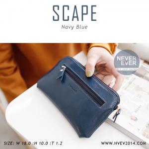 กระเป๋าสตางค์ผู้หญิง ทรงถุง สีน้ำเงิน รุ่น SCAPE