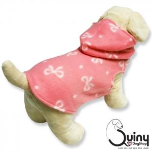 เสื้อสุนัข ฮู้ด ลายโบว์ สีชมพู