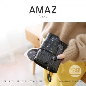 กระเป๋าสตางค์ผู้หญิง ขนาดกลาง รุ่น AMAZ สีดำ