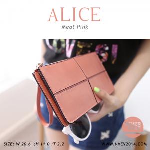 กระเป๋าสตางค์ผู้หญิง ทรงถุง กระเป๋าคลัทช์ สีชมพู รุ่น ALICE