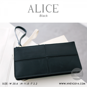 กระเป๋าสตางค์ผู้หญิง ทรงถุง กระเป๋าคลัทช์ สีดำ รุ่น ALICE