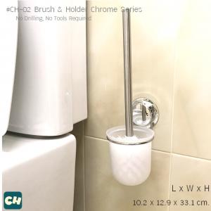 CH-02 แปรงพร้อมที่วาง รุ่น Chrome Series ไม่ต้องเจาะผนัง