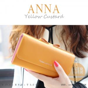 กระเป๋าสตางค์ผู้หญิง รุ่น ANNA สีเหลีองคัสตาร์ด ใบยาว