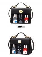 กระเป๋าแฟชั่น beibaobao รุ่น b735 (สีดำ ชมพู ครีม เงิน)