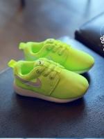 รองเท้าแฟชั่นเด็กสีเรืองแสงสีเขียว วัสดุหนังผสมตาข่าย ระบายอากาศได้ดี สีสันสุดแซ่บ