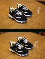 รองเท้าแฟชั่นเด็กสีดำ วัสดุหนังผสมตาข่าย ระบายอากาศได้ดี สีสันสุดแซ่บ