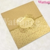 P90049 การ์ดแต่งงาน 3 พับ สีทอง 15x15 cm