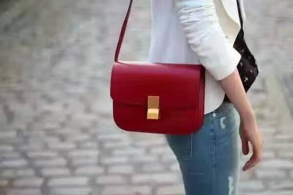 กระเป๋าหนัว Celine box (Cherry Red 24) หนังเงา