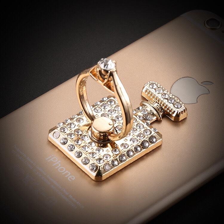 แหวนมือถือ ขวดน้ำหอมประดับคริสตัล (Gold)