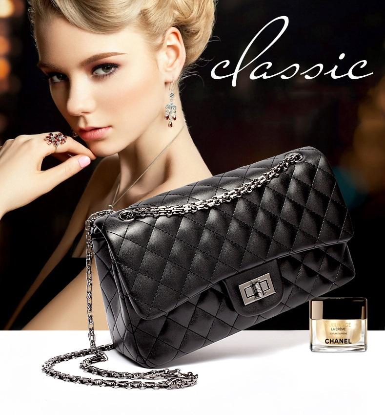 กระเป๋า chanel คลาสสิก โซ่ดำ 28x18x9cm (11 นิ้ว)