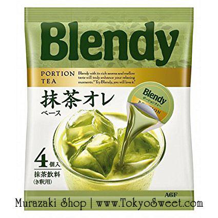 พร้อมส่ง ** Blendy Portion Matcha Green Tea Au Lait Based หัวชาเขียวมัจฉะเข้มข้น แค่เตรียมนมอุ่นหรือเย็น 130ml แล้วเทหัวชาเขียวลงไปผสม ก็จะได้ชาเขียวนมหอม อร่อย ทำได้ง่ายๆ ไว้ดื่มแล้วค่ะ บรรจุ 4 ชิ้น