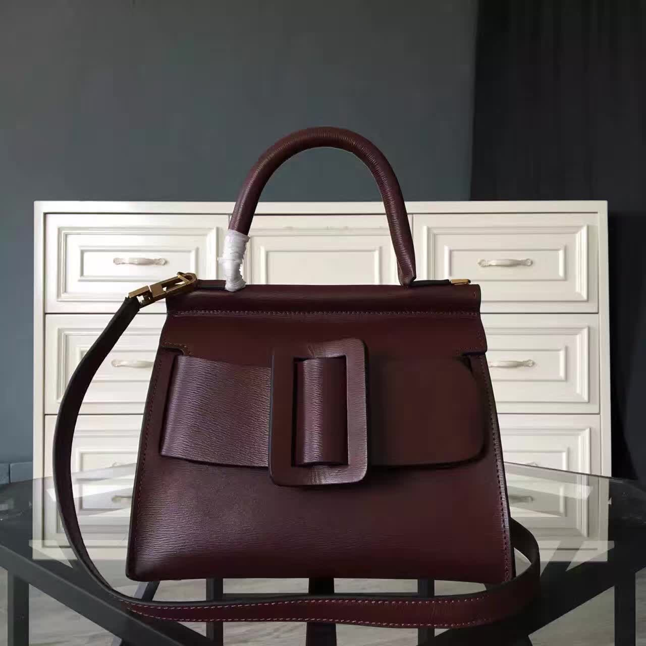 กระเป๋าหนังแท้ boyy karl wine red size29 (หนังวัวโมโนแกรม)
