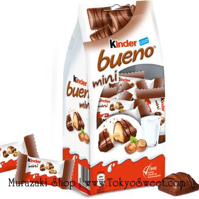 พร้อมส่ง [สินค้านำเข้าจากฝรั่งเศส] ** Kinder Bueno mini คินเดอร์ บูเอโน มินิ เวเฟอร์เคลือบช็อกโกแลตนมสอดไส้ครีมและเฮเซลนัทบด บรรจุ 108 กรัม (ประมาณ 20 ชิ้น)