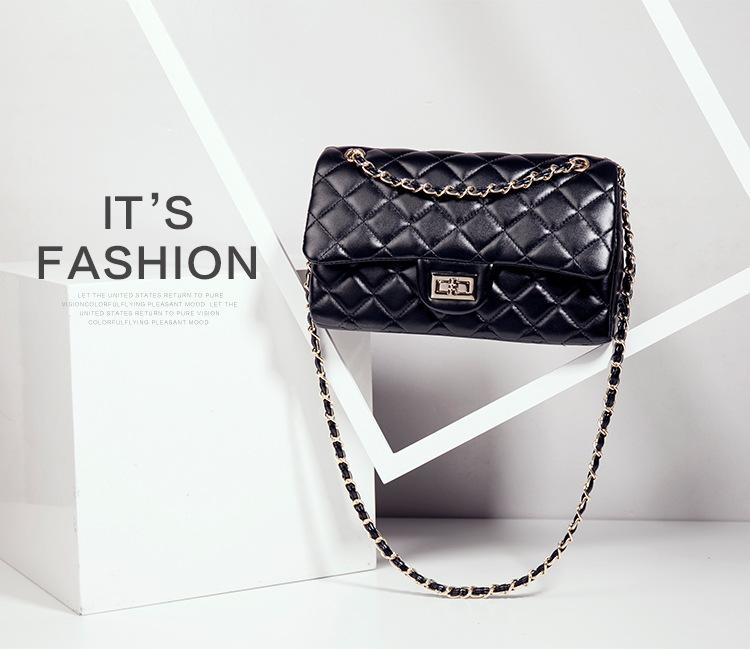 กระเป๋าหนังวัว รุ่น ชาแนลคลาสสิก 10.5 นิ้ว Black (โซ่ทองร้อยหนัง)