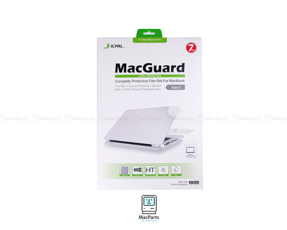 "JCPAL MacGuard 5 in 1 Set - Macbook Air 13"" (Top Skin+Screer Protector+Bottom Skin+Palm Guard Trackpad Skin)"