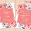 การ์ดแต่งงาน การ์ดเชิญงานแต่งงาน ลายดอกไม้สีน้ำวินเทจ D90098