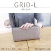 กระเป๋าสตางค์ผู้หญิง รุ่น GRID-L สีเทาอ่อน ใบยาว สองซิป