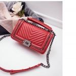 กระเป๋าหนังแกะ ทรง Chanel boy lady (Red)