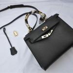 กระเป๋าหนังวัวทั้งใบ hermes kelly 25' (Black) อะไหล่ทอง